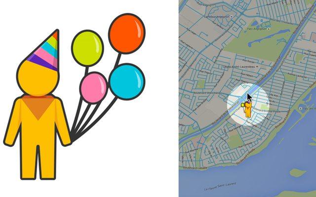 השתמשו בשירות המפות של גוגל ביום ההולדת שלכם ו-Pegman (הדמות המצוירת) תקושט בכובע ובלונים. מקור: Google Maps