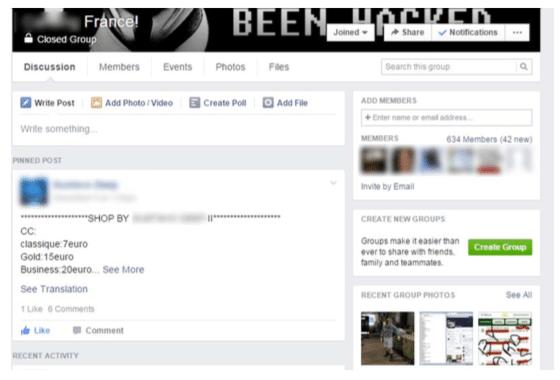 איזה כרטיס אשראי תרצו לרכוש? מתוך אחד המחירונים של כרטיסי האשראי הגנובים שמסתובב בפייסבוק