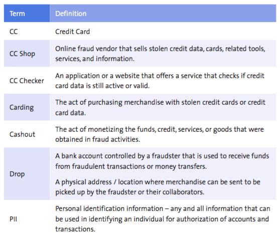 מילון המונחים של נוכלי הרשת (תמונה: מתוך מחקר ה-RSA)