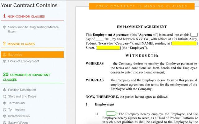 ניתוח חוזה לדוגמא. מקור: LawGeex