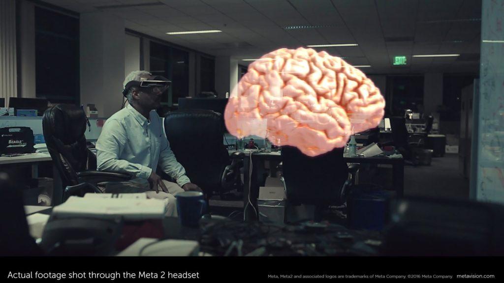 מודל של מוח אנושי בתלת ממד בתצוגה דרך ה-Meta 2. צילום: Meta