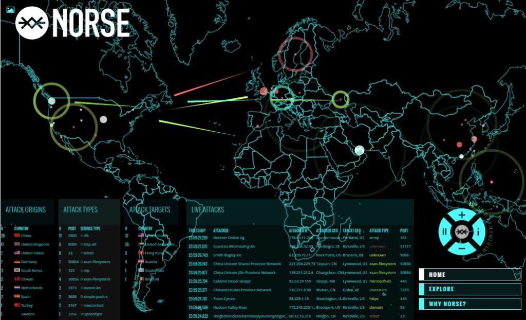 מקור: http://map.norsecorp.com. מיפוי בזמן אמת של טראפיק עוין שעובר באינטרנט.