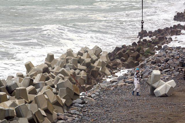 פועלים בונים שובר גלים חדש לאורך החוף של פוקשימה (צילום: מדע פופולארי)