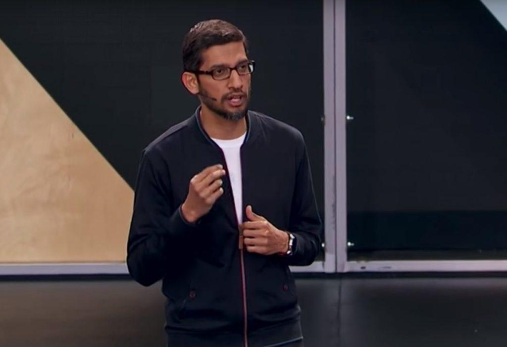 """סאנדר פיצ'אי. ה-I/O הראשון שלו כמנכ""""ל גוגל. מקור: צילום מסך"""