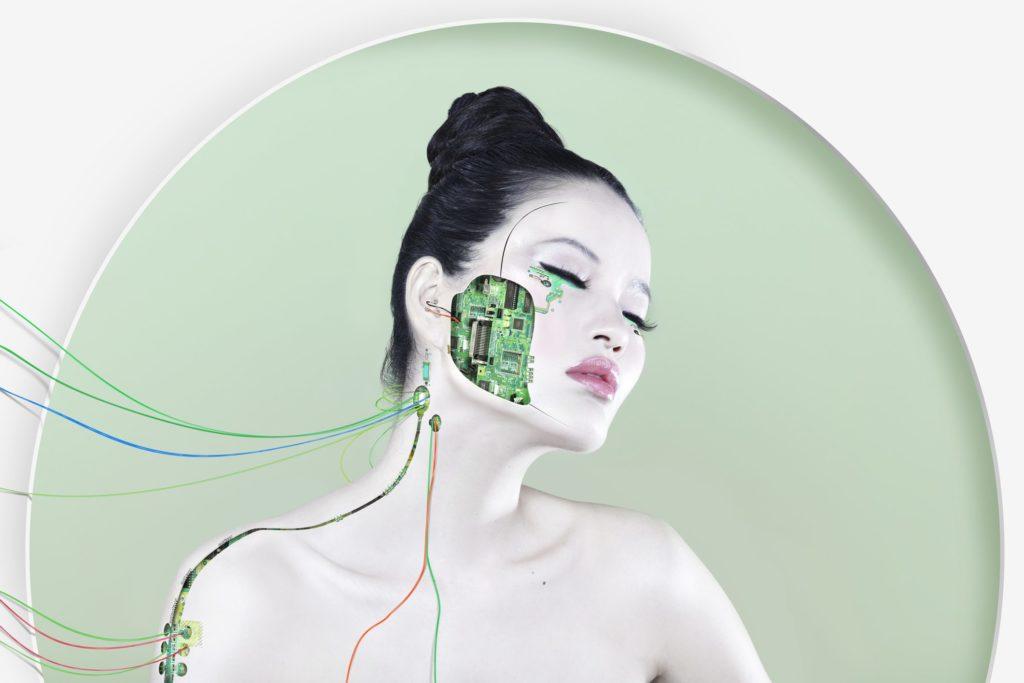 futuristic, microchip, wires, electricity, internet, portrait, plug