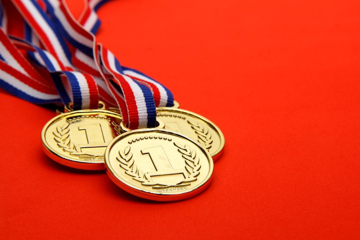 Winning Medals on red