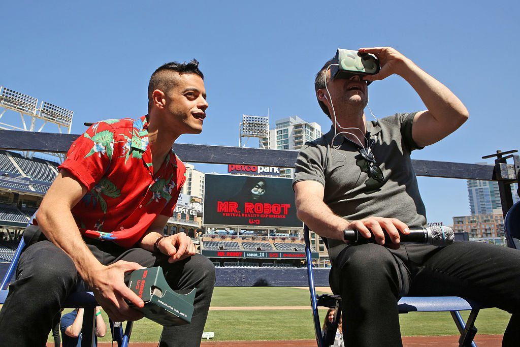 "COMIC-CON INTERNATIONAL: SAN DIEGO -- ""Mr. Robot Petco Park Stunt"" -- Pictured: (l-r) Rami Malek, Christian Slater -- (Photo by: Evans Vestal Ward/USA Network/NBCU Photo Bank via Getty Images)"
