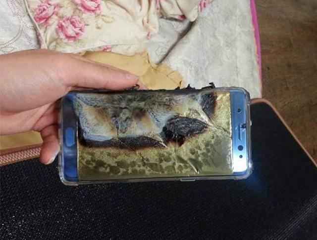 אחד ממכשירי הנוט 7 שהתפוצצו. מקור: http://tieba.baidu.com/p/4747843017