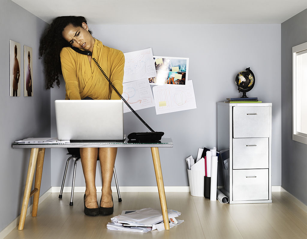 business woman in small office