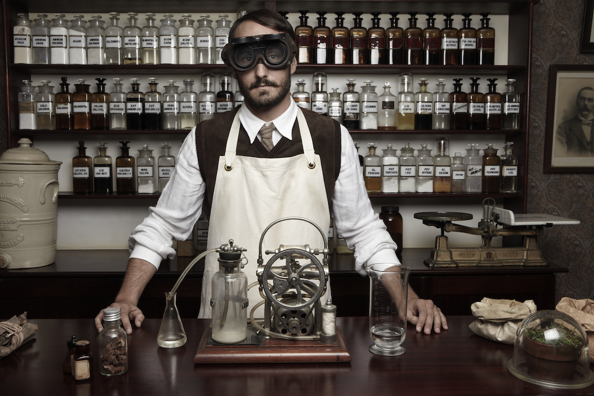 Portrait of antiquated chemist getty images