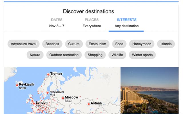 כפי שניתן לראות, כבר עכשיו ניתן לחפש חופשה לפי מספר משתנים, בהם אופי החופשה. מקור: צילום מסך, Google Flights