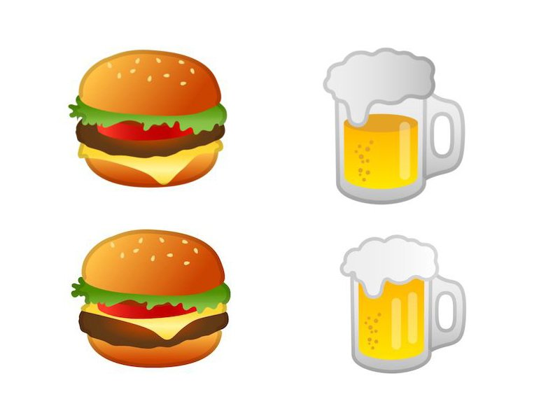 Google Burger and beer Emoji