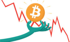 Stylized illustration of Bitcoin cryptocurrency in hand with crashing graph in background