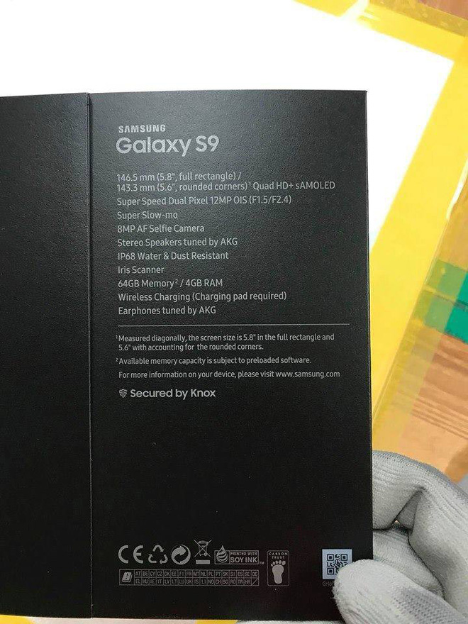 Alleged Galaxy S9 Box