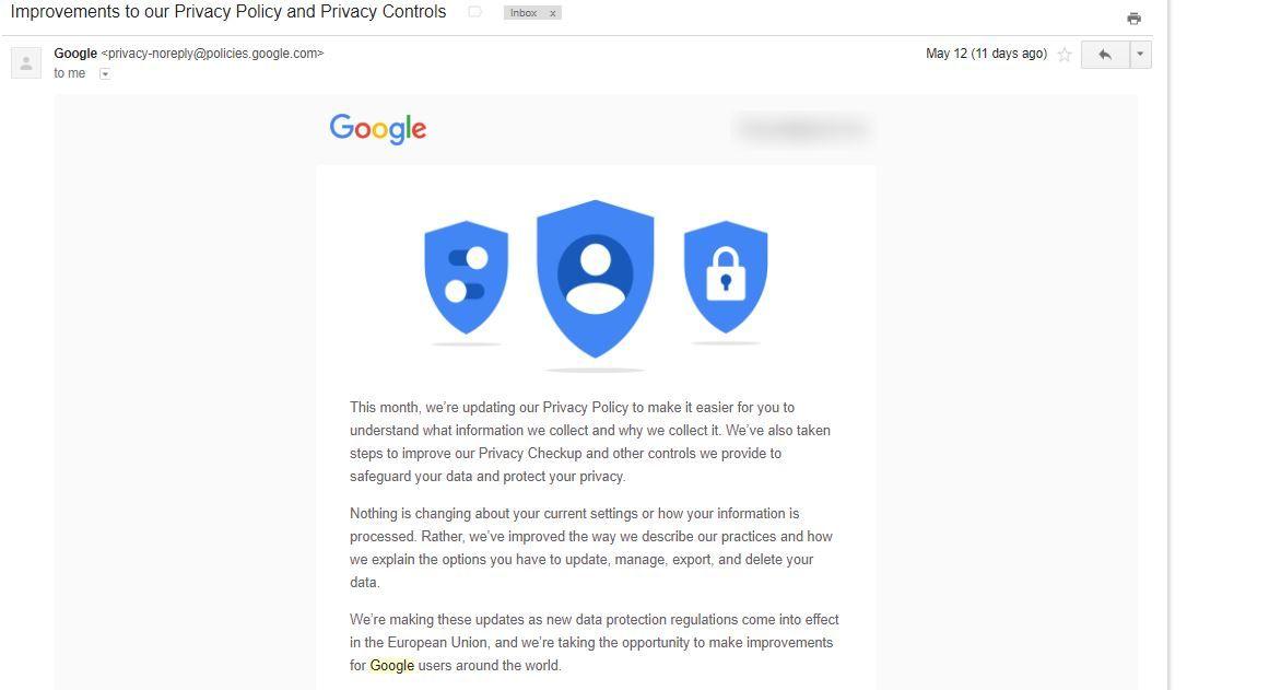 gmail google GDPR